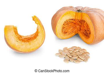 calabaza, corte, pedazos, blanco, sopa, rebanadas, seeds., ...