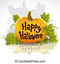 calabaza, feliz, afuera, corte, bandera, halloween