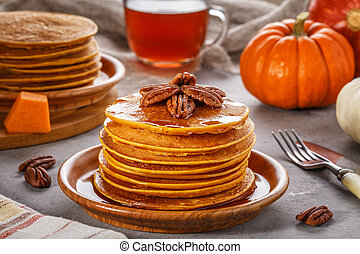 calabaza, pila, casero, pancakes.
