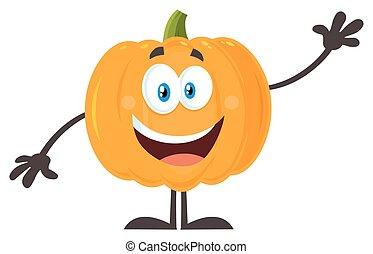 calabaza, vegetales, carácter, ondulación, naranja, feliz, caricatura, emoji
