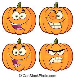 calabaza, vegetales, caricatura, emoji, cara, carácter, conjunto, 1., vector, colección