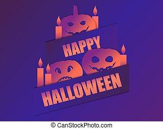 calabazas, asustadizo, ilustración, 31st., tarjeta de felicitación, octubre, candles., feliz, halloween, vector