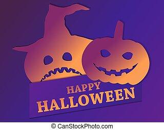 calabazas, gradient., asustadizo, ilustración, caras, saludo, 31st., tarjeta, octubre, feliz, halloween, vector, emotions.