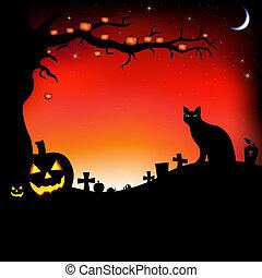 calabazas, halloween, ilustración