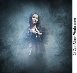 calabouço, feitiçaria, dia das bruxas, jovem, feiticeira,...
