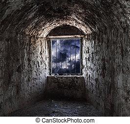 calabouço, pedra, janela, barras.