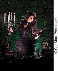 calabozo, brujería, joven, bruja, elaboración, sexy