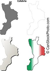 Calabria blank detailed outline map set
