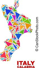 Calabria Region Map - Mosaic of Color Triangles - Mosaic...