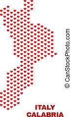 Calabria Region Map - Mosaic of Valentine Hearts - Mosaic...