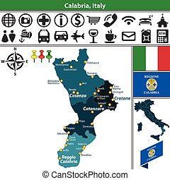 Calabria with regions, Italy - Vector map of Calabria with...