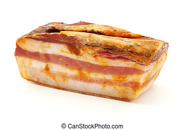 Calabrian pancetta on a white background
