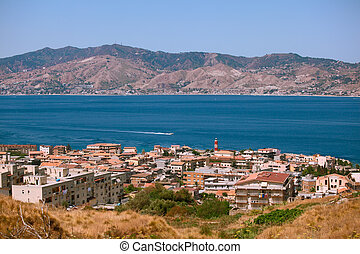 Calabrian view on Messina strait - Messina strait view from...