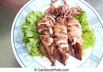 calamar, ail, pepper., cuit friteuse
