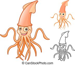 calamar, caractère, dessin animé