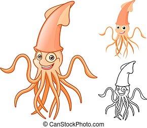 calamar, caricatura, carácter