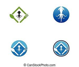 calamar, logotipo, vector, resto