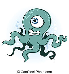 calamar, poulpe, monstre, dessin animé