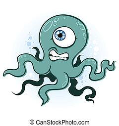 calamar, pulpo, monstruo, caricatura