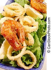 calamari, 3, fritto, anelli, gamberetti