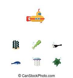 calamaro, appartamento, set, elements., periscopio, sottomarino, include, anche, tentacolo, vettore, alga, mare, cachalot, objects., altro, icona