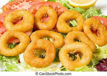 calamaro, fritto, anelli