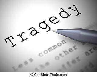 calamidad, catástrofe, desastre, icono, -, medios, concepto, 3d, ilustración, tragedia