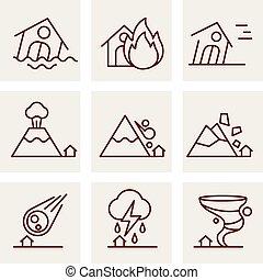 calamité naturelle, icônes