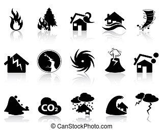 calamité naturelle, icônes, ensemble