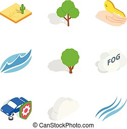 Calamity icons set, isometric style - Calamity icons set....
