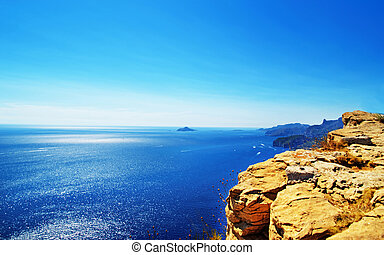 Calanque at Mediterranean sea in Cote Azur in France - ...