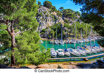 Calanque de Port Miou in Cassis, Provence, France - White ...