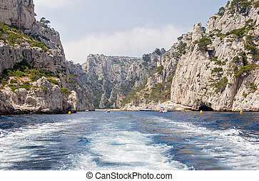 Calanque - Exiting a calanque near Cassis, France