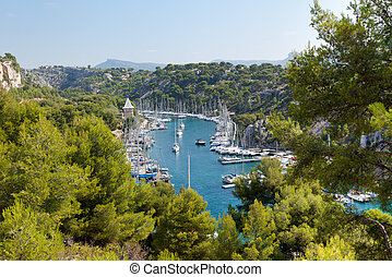 Calanque of Port Miou in Cassis in France