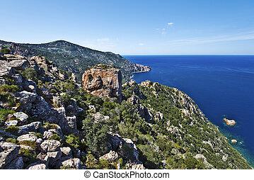 Calanques de Piana in Corsica, magmatic rocks seen along the...