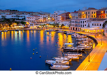 Calasfonts Cales Fonts Port sunset in Mahon at Balearics -...