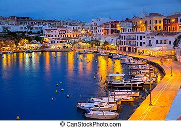 Calasfonts Cales Fonts Port sunset in Mahon at Balearics -...