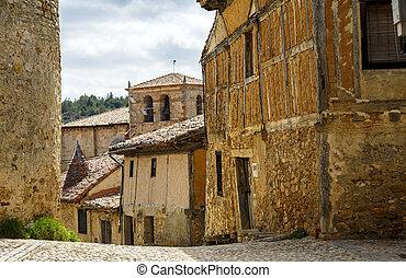 Calatanazor Spain - Medieval adobe house facade in...