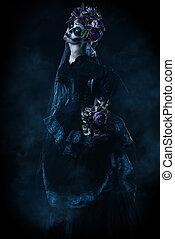 Calavera Catrina portrait - Calavera Catrina in black dress...