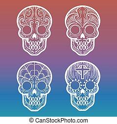 calavera, colorido, plano de fondo, cráneo