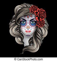 calavera, kvinde, makeup
