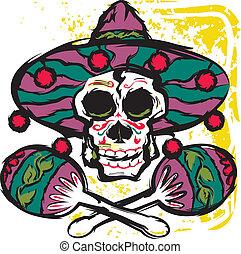 Calavera Maracas - A sugar skull with maracas and sombrero
