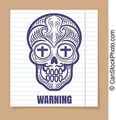 Calavera sugar skull on linear page