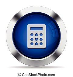 Calc button - Blue glossy steel calc button