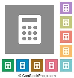 Calc square flat icons - Calc flat icon set on color square ...