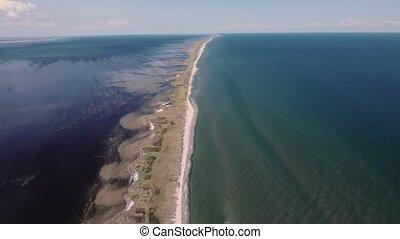 calcaire, sandspit, aérien, noir, coup, mer, sans bornes, summer.