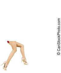 calcanhar, pernas, sapatos, alto, mulher, excitado