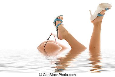 calcanhares altos, água
