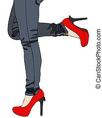 calcanhares altos, calças brim, vermelho, excitado