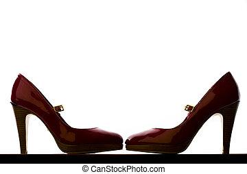 calcanhares altos, par, vermelho, backlit